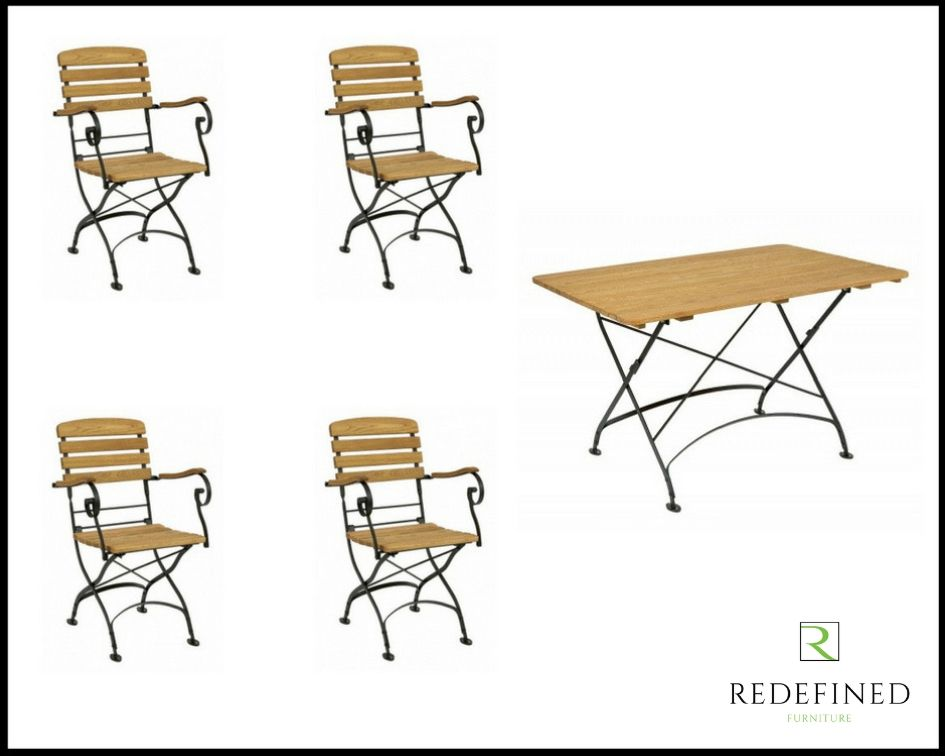 1200 Rectangular Folding Table with 4 Matching Folding Armchairs Oiled and Black Frame RF06ODF-035