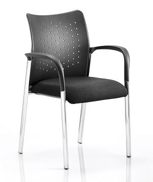 Academy 4 Legged Visitor Chair Chrome Legs Nylon Backrest Upholstered Seat With Arms Black Fabric
