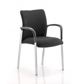 Academy Visitor Chair Chrome Leg Fully Upholstered Padded Seat & Curved Back With Arms - Black