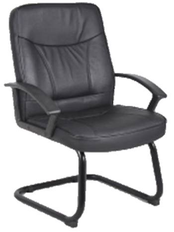 Blitz Cantilever Visitor Chair Black Frame Nylon Fixed Armrests Black Bonded Leather