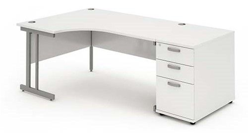 Cantilever Leg, Radial/Crescent Desk, 1600mm, 800mm Pedestal. Available in Various Top Colours