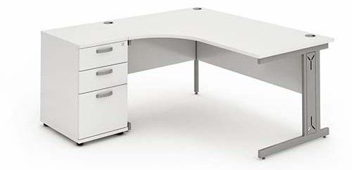 Cantilever Wire Managed Leg, Radial/Crescent Desk, 1600mm, 600mm Pedestal. Various Colours Available