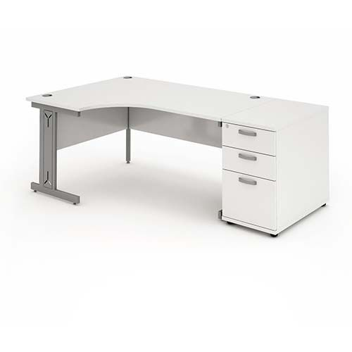 Cantilever Wire Managed Leg, Radial/Crescent Desk, 1600mm, 800mm Pedestal. Various Colours Available