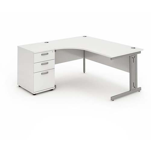 Cantilever Wire Managed Leg, Radial/Crescent Desk, 1800mm, 600mm Pedestal. Various Colours Available