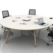 Circular Multi-Person Desking with Wood Legs. Choice of Table Top, Edge Finish and Sizes