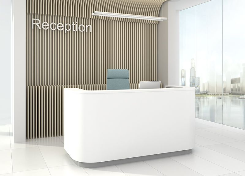Curved Reception Desk|Full Height Modesty Panel|Counter Top|White|1025mm High