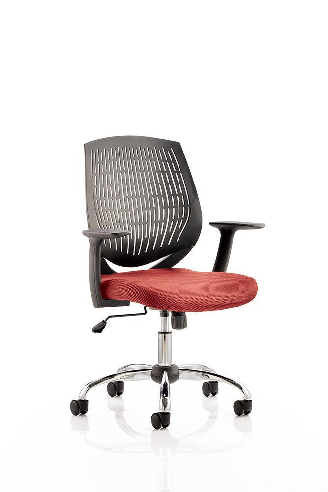 Dura Flexi Nylon Mesh Black Backrest Office Operator Chair Arms Choice of Seat Colours