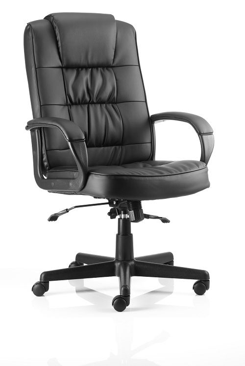 Executive Office Chair Fixed Padded Arms Office Task Black Bonded Leather