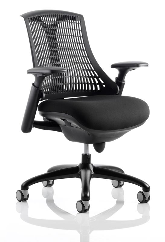 Flex Large Cushioned Seat Task Chair Black Frame Black Fabric Seat Various Colour Backrests Adj Arms