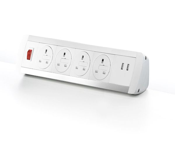 Metalicon Desktop Power & Data Module With 4 UK Sockets, 1 Neon Switch And 2 Usb Sockets