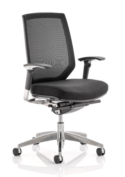 Midas Mesh Back Task Chair Operator Black Mesh Backrest Adjustable Arms Various Seat Colour Options