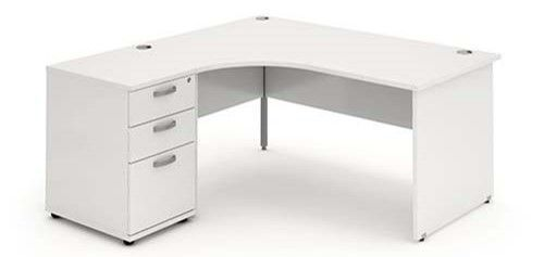 Panelled End Leg, Radial/Crescent Desk, 1600mm, 600mm Pedestal. Available in Various Top Colours