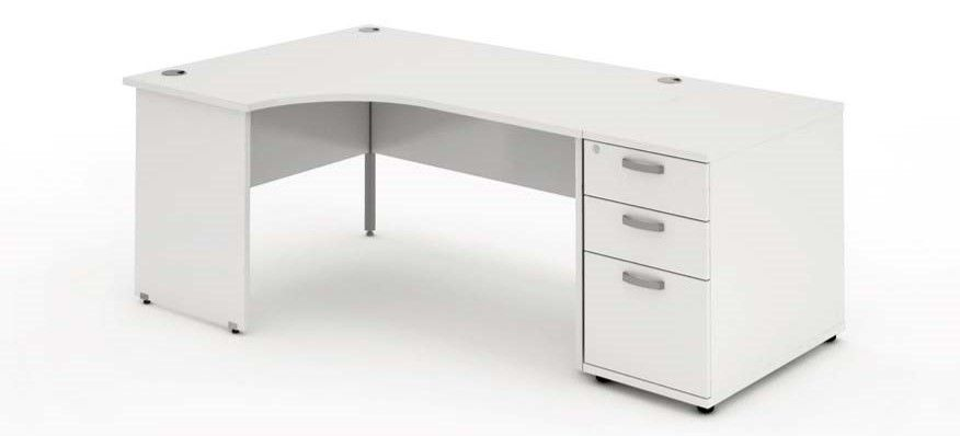 Panelled End Leg, Radial/Crescent Desk, 1600mm, 800mm Pedestal. Available in Various Top Colours