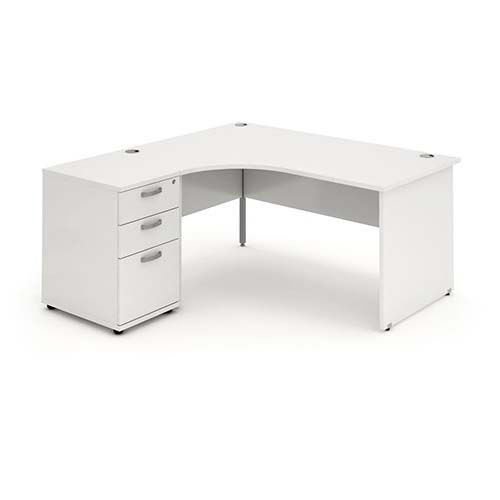 Panelled End Leg, Radial/Crescent Desk, 1800mm, 600mm Pedestal. Available in Various Top Colours