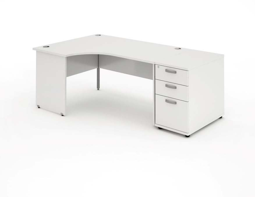 Panelled End Leg, Radial/Crescent Desk, 1800mm, 800mm Pedestal. Available in Various Top Colours