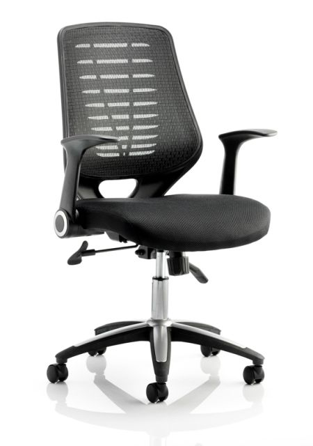 Relay Black Mesh Backrest Operator Chair Folding Armrests INCLUDED. Black or Bespoke Seat
