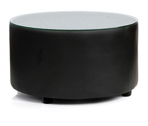 Round Upholstered Coffee Table  Glass Top On Glides Choice of Fabric Colours