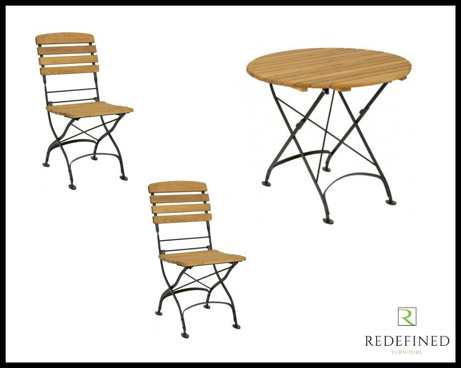 Circular Folding Table with 2 Matching Folding Side Chairs Oiled and Black Frame RF06ODF-030