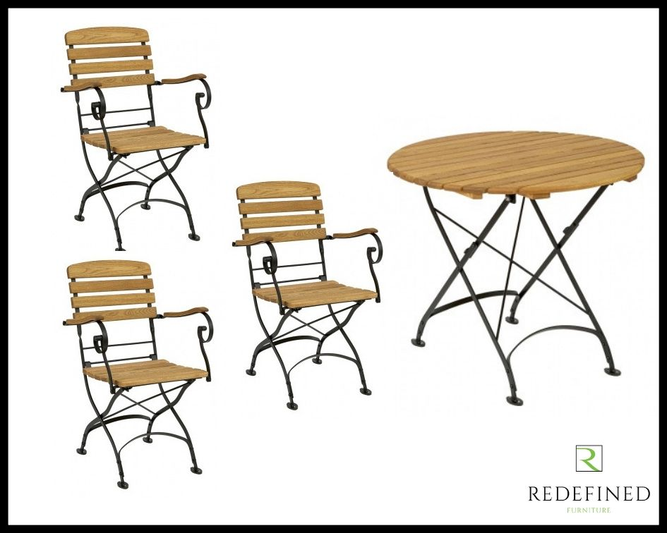 Circular Folding Table with 3 Matching Folding Armchairs Oiled and Black Frame RF06ODF-032
