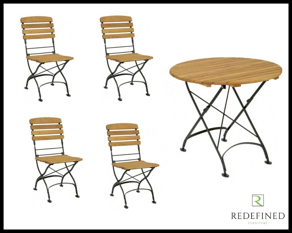 Circular Folding Table with 4 Matching Folding Side Chairs Oiled and Black Frame RF06ODF-028