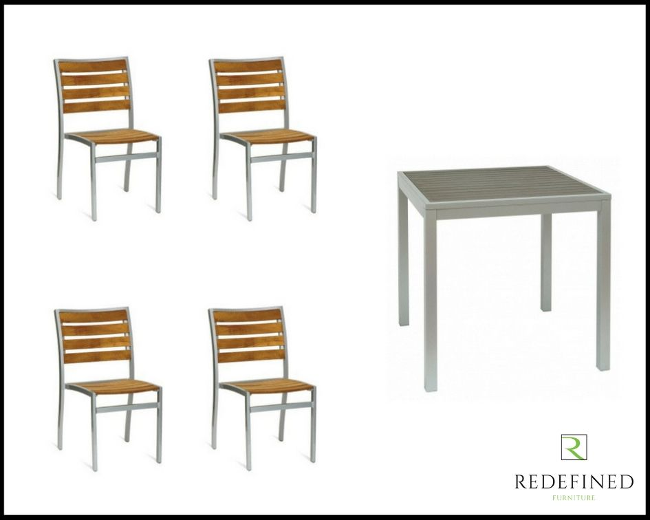 Modern Design Square Dining Table, 4 Matching Stacking Chairs TEAK Slats and Silver Frame