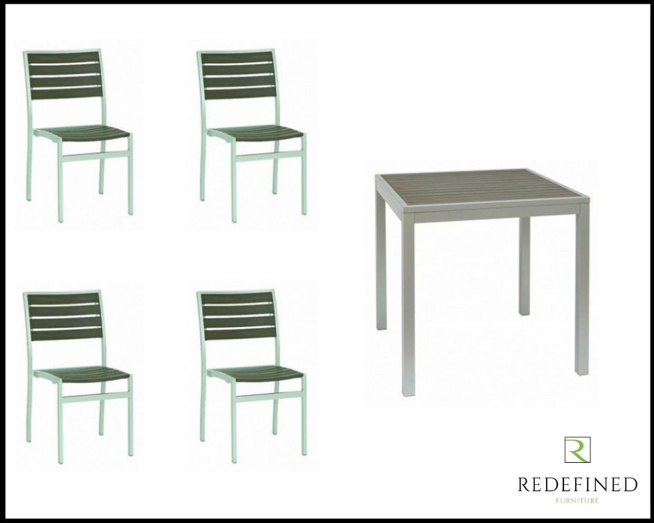 Modern Square Dining Table with 4 Matching Stacking Chairs, Grey Slats and Silver Frame RF06ODF-002
