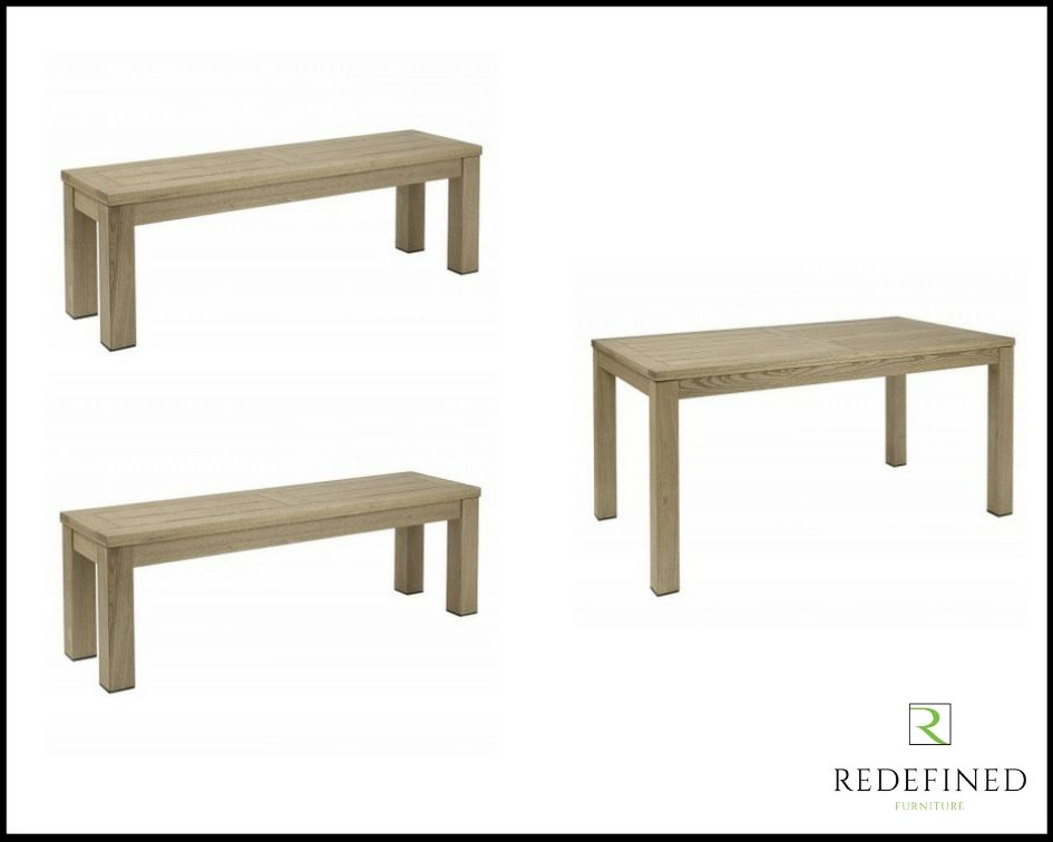 Rectangular Dining Table with 2 Matching Benches in a Weathered Finish RF06ODF-022