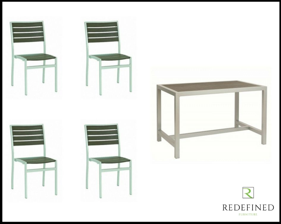 Rectangular Dining Table with 4 Matching Stacking Chairs, Grey Slats and Silver Frame RF06ODF-004