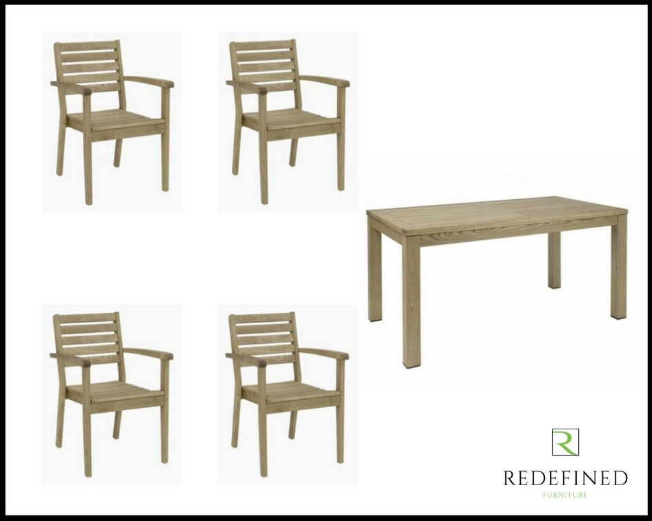 Rectangular Dining Table with 4 Solid Matching Stacking Armchairs in a Weathered Finish RF06ODF-023