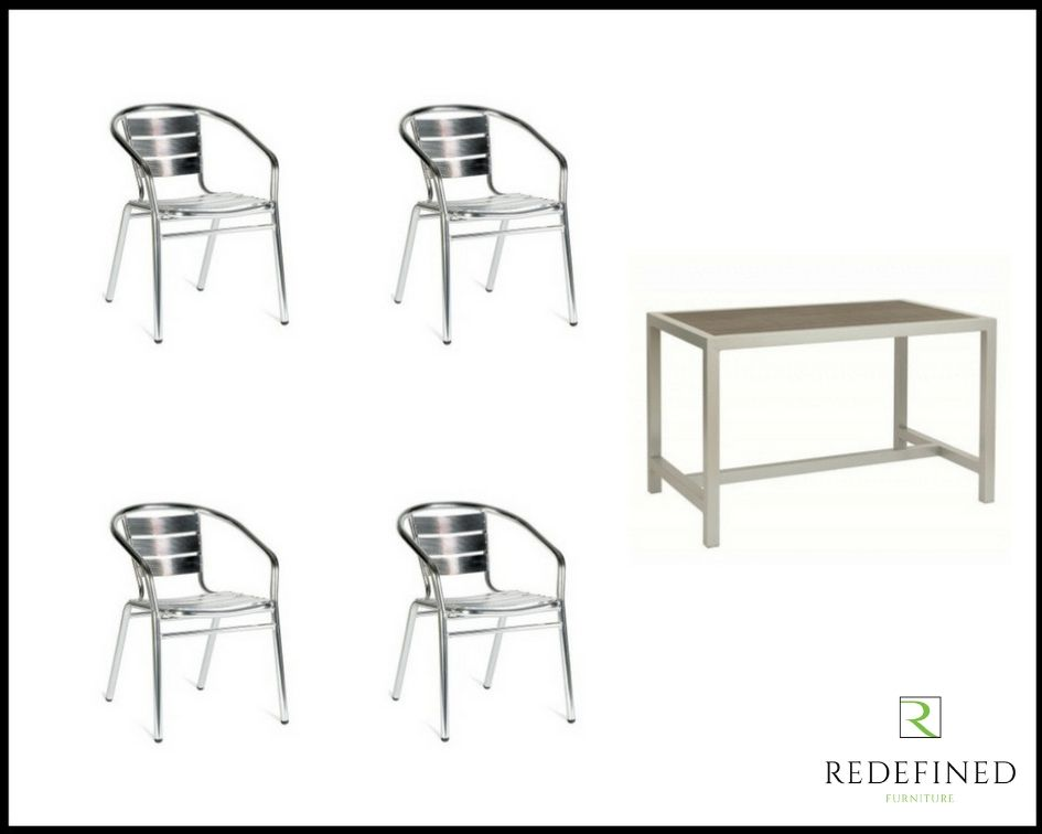 Rectangular Dining Table with Teak Slats and Silver Frame Plus 4 Stacking Armchairs RF06ODF-005