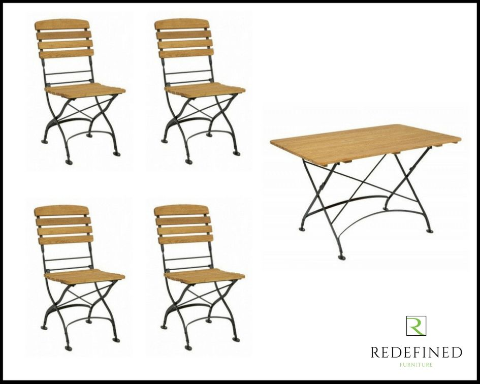 Rectangular Folding Table with 4 Matching Folding Side Chairs Oiled and Black Frame RF06ODF-034