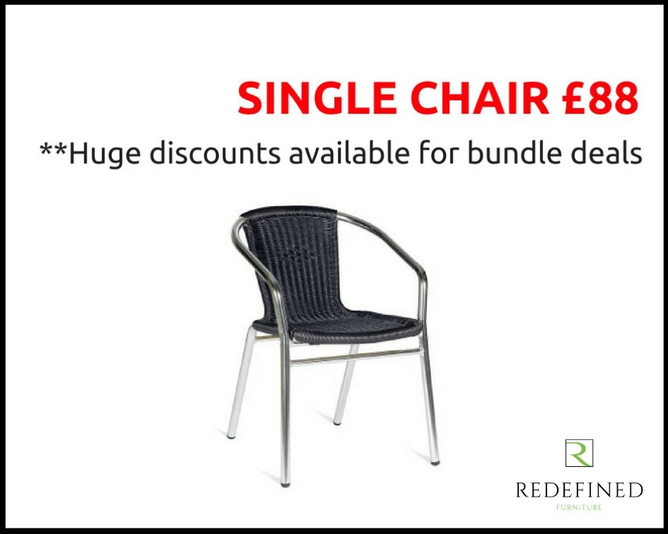 Single Weave Stacking Armchairs in a Black Weave on a Aluminium Frame RF06ODF-036