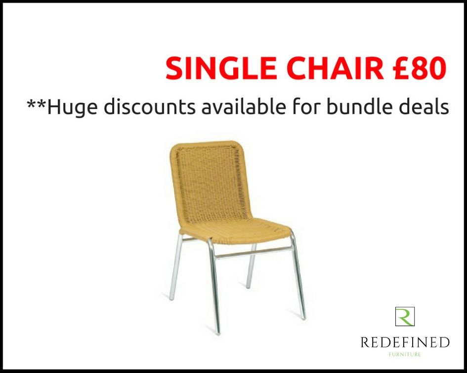 Single Weave Stacking Side Chairs in a Beige Weave on a Aluminium Frame RF06ODF-039