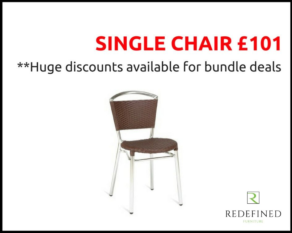 Single Weave Stacking Side Chairs in a Faux Brown Leather on a Aluminium Frame RF06ODF-042