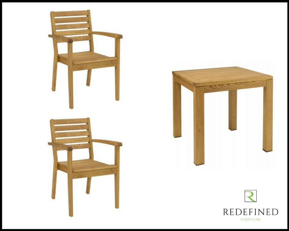Square Dining Table with 2 Matching Stacking Armchairs in an Oiled Finish RF06ODF-024