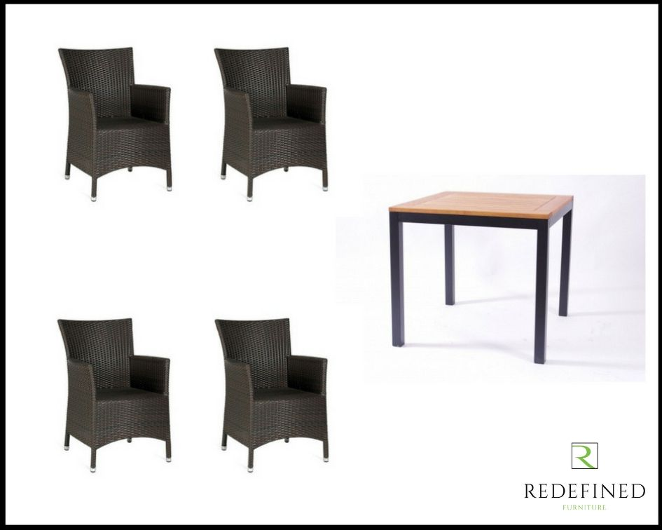 Square Dining Table with 4 Armchairs, Anthracite/Teak Table and Black Chairs RF06ODF-015