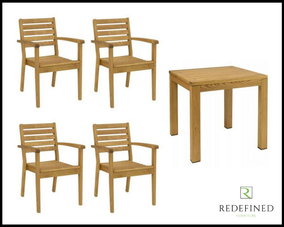Square Dining Table with 4 Matching Stacking Armchairs in an Oiled Finish RF06ODF-025