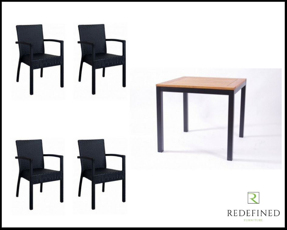 Square Dining Table with 4 Stacking Armchairs, Anthracite/Teak Table and Black Chairs RF06ODF-014