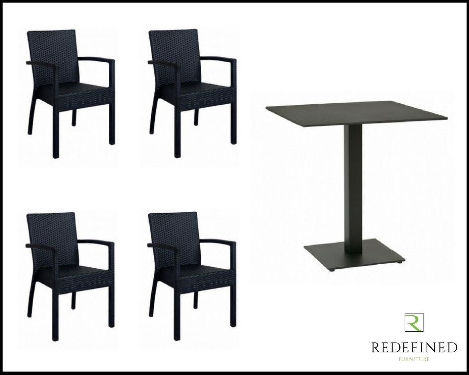 Square Dining Table with 4 Stacking Armchairs, Black Table and Chairs RF06ODF-013
