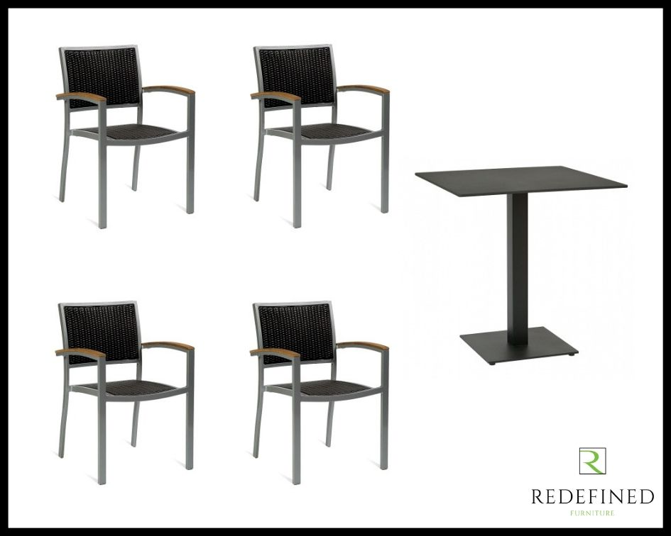 Square Dining Table with 4 Stacking Armchairs, Black Table and Chairs RF06ODF-018