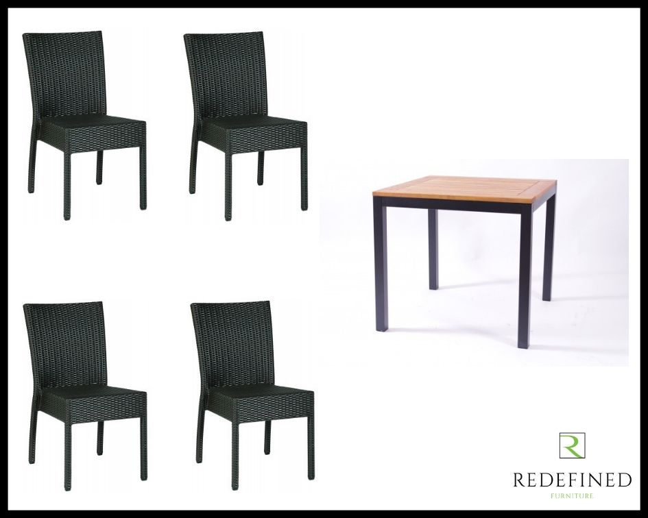 Square Dining Table with 4 Stacking Side Chairs, Anthracite/Teak Table and Black Chairs RF06ODF-012