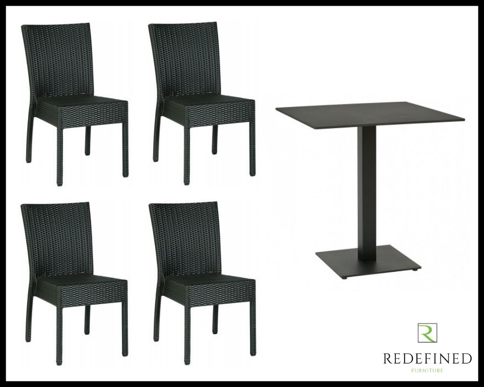 Square Dining Table with 4 Stacking Side Chairs, Black Table and Chairs RF06ODF-011