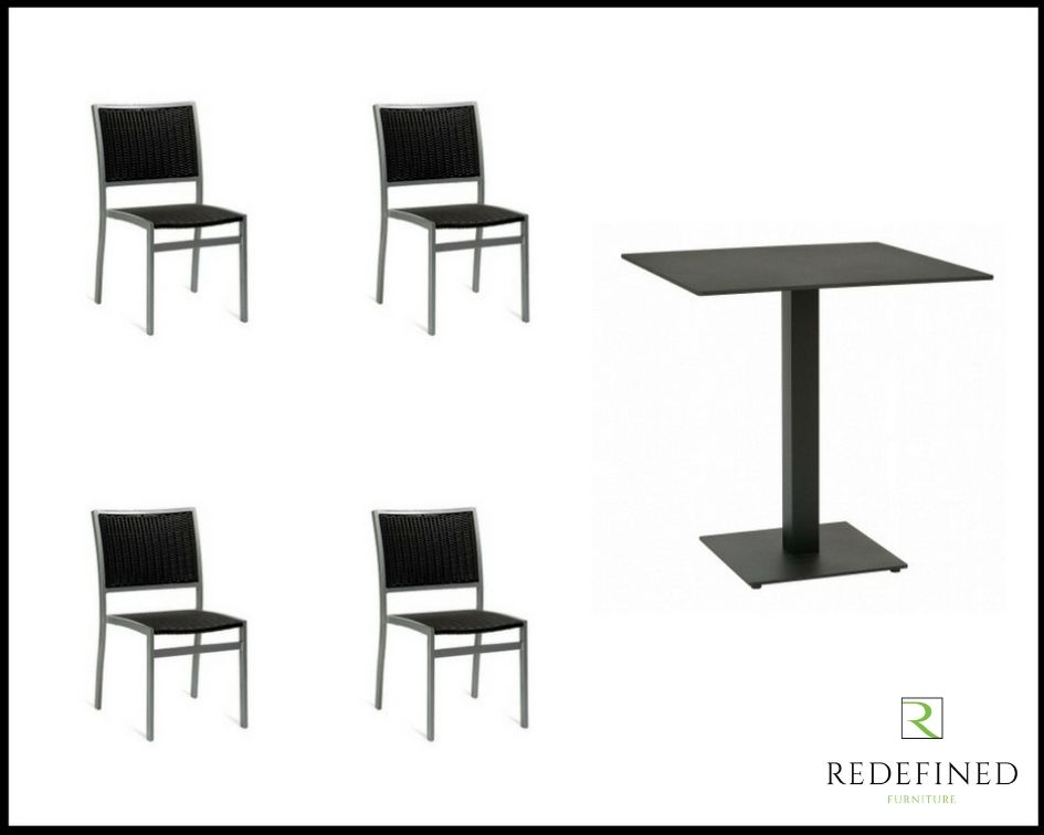 Square Dining Table with 4 Stacking Side Chairs, Black Table and Chairs RF06ODF-017