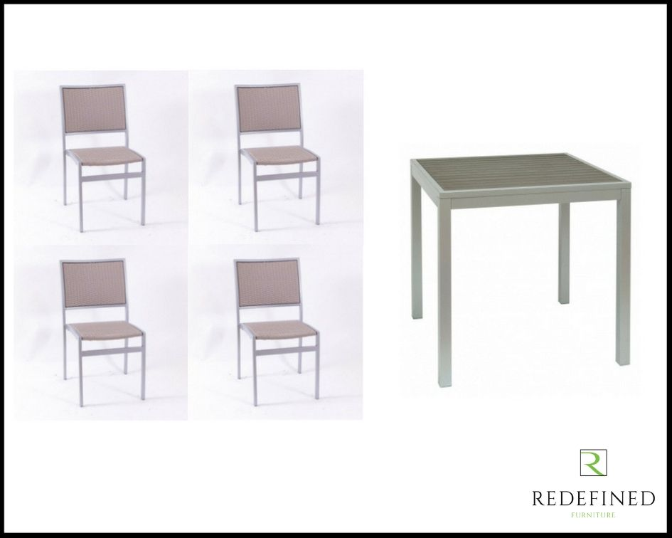 Square Dining Table with 4 Stacking Side Chairs, Complementing finish RF06ODF-016