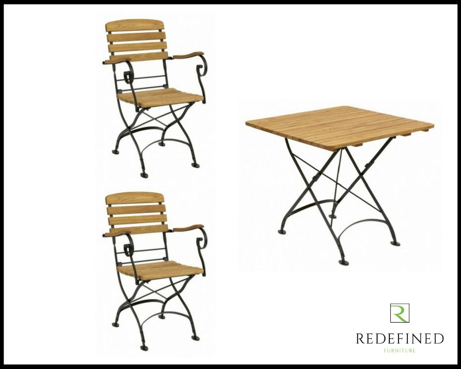 Square Folding Table with 2 Matching Folding Armchairs Oiled and Black Frame RF06ODF-033