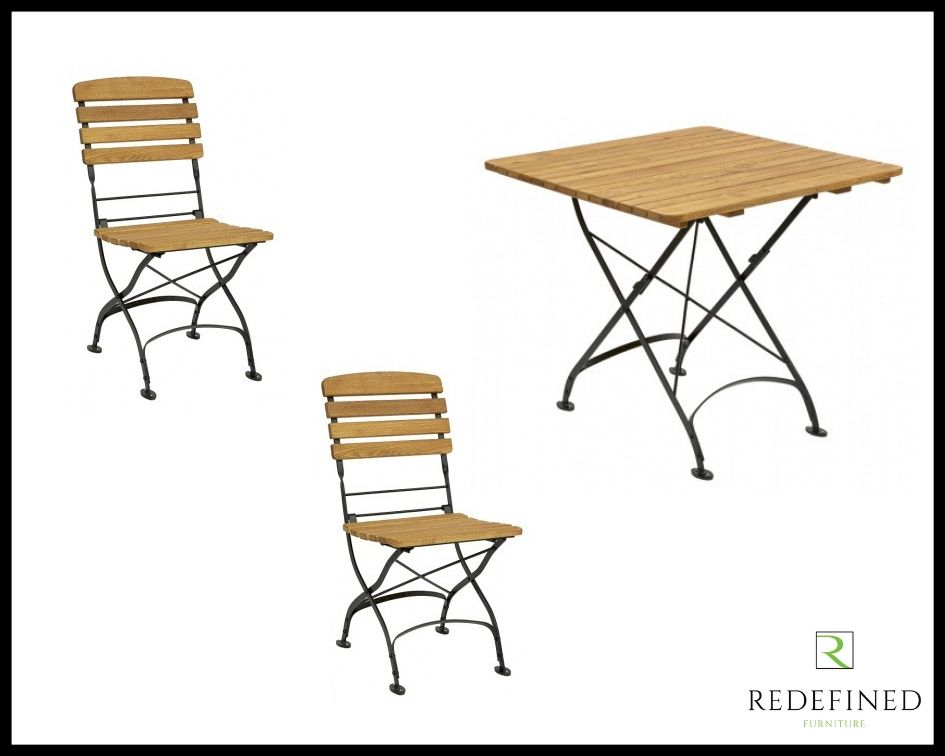 Square Folding Table with 2 Matching Folding Side Chairs Oiled and Black Frame RF06ODF-031