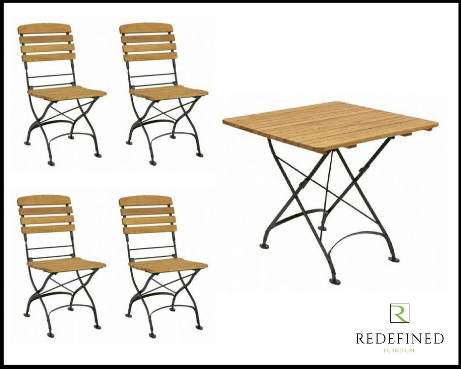 Square Folding Table with 4 Matching Folding Side Chairs Oiled and Black Frame RF06ODF-029